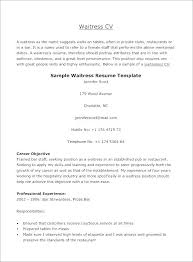 Waitress Resume Example Free Resume Sample Waiter Restaurant Server