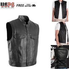 details about men leather harley locomotive vest waistcoat motorcycle biker club punk vest us