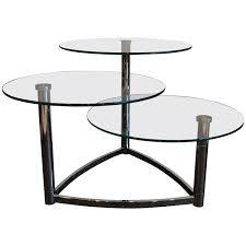 glass box black coffee table with chrome legs round