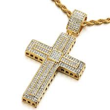 spring main section mens womens steel large gold cross pendant necklace with cubic zirconia and 30 inches rope chain 13062