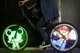 yq8003 diy programmable bicycle spoke bike wheel led light double sided screen display image for night