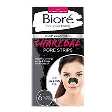 bioré blackhead removing and pore unclogging deep cleansing pore strip with natural charcoal free