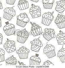 Monochrome Cupcakes Seamless Pattern Black And White Sweet