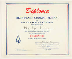 marilyn lopez blue flame cooking school diploma kansas memory  marilyn lopez blue flame cooking school diploma