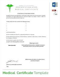 Sample Medical Certificate Download Documents Word Fake