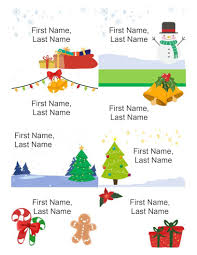 Holiday Name Holiday Name Badges 8 Per Page Christmas Spirit Design