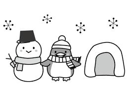 雪だるまとペンギンの白黒イラスト かわいい無料の白黒イラスト モノぽっと