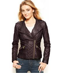 Guess Quilted Faux-Leather Moto Jacket in Purple | Lyst & Gallery Adamdwight.com