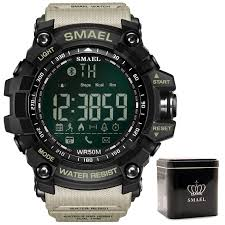 SMAEL Mens Chronograph Watches Sport Male Clock Stop Army ...