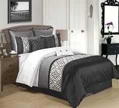 9 Piece Cambridge Black/Charcoal/White Comforter Set   bedroom ... & 9 Piece Cambridge Black/Charcoal/White Comforter Set Adamdwight.com