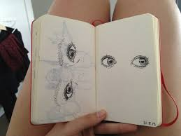 aesthetic art black book cool draw drawing eyes