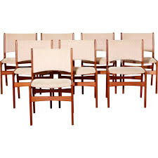 set of 8 dining chairs erik buch 1950s