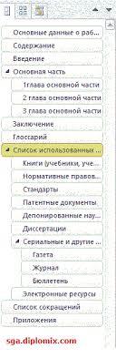 Шаблон курсовой работы СГА Мои статьи Полезное студенту  структура документа шаблона курсовой 3 1