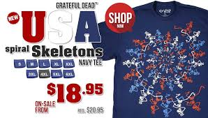 new usa spiral skeletons grateful t shirt tees