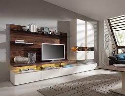 felino wall tv storage system with walnut backing and white matt lacquer