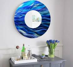 large round blue metal mirror wall art home decor accent sculpture by jon allen on large metal mirror wall art with large round blue metal mirror wall art home decor accent sculpture