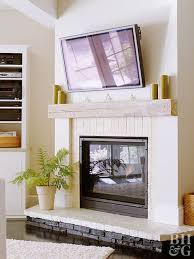 after lovely lower level white brick fireplace natural wood mantel