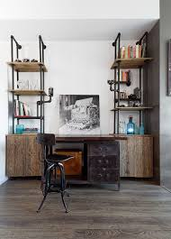 designer home office furniture. View In Gallery Industrial Home Office Desk And Shelving Unit Crafted From Pipes Reclaimed Wood [Design: Designer Furniture