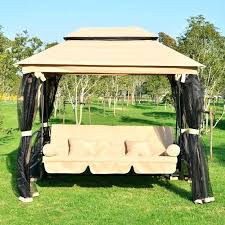 3 person patio swings outdoor 3 person patio daybed canopy gazebo swing tan w mesh walls