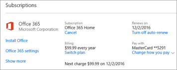 microsoft office 365 home. shows the subscriptions page where you can see how often are billed when your microsoft office 365 home i