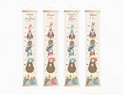 Woodland Growth Chart Personalized Growth Chart Kids Height Chart Woodland Growth Chart Kid Canvas Growth Chart Growth Ruler Woodland Nursery Decor Giclee