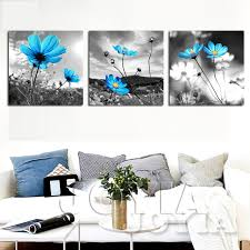 canvas wall art decoration wall pictures blue flower painting gray art printed for living room modern on canvas wall art blue flowers with canvas wall art decoration wall pictures blue flower painting gray