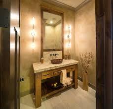 strasser woodenworks powder room rustic with beige countertop beige floor tile framed mirror