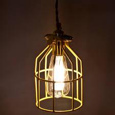 industrial inspired lighting. Vintage Inspired Industrial Metal Cage Light - Yellow. « Lighting