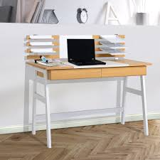 homcom computer desk with metal trays and drawer modern writing table workstation wood white