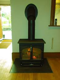 clearview 650 wood burning stove with twinwall flue and inlaid hearth