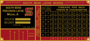 South Bend Lathe Lubrication Chart South Bend Lathe Machine Plates And Charts The Hobby Machinist