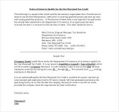 Example of a Short Job Creation Tax Credit Letter of Intent
