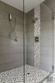 Small Picture Large gray and white marble subway tile on shower wall and
