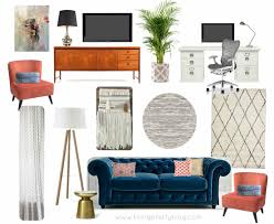 mood board living room design featuring midcentury console souk rug chesterfield sofa