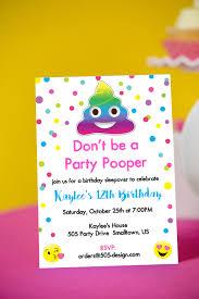 rainbow invitation emoji party pooper invitation instant printable emoji birthday invitation by printable studi
