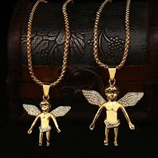 whole new arrivals hip hop 18k gold plated big or small angel wing pendant necklace full crystal fashion jewelry for men long pendant necklaces pearl