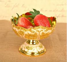 Decorative Fruit Trays European flower carved small round gold metal fruit tray decorative 94