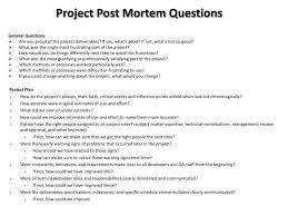 Project Management Post Mortem Template Ppt Project Post Mortem Questions Powerpoint Presentation
