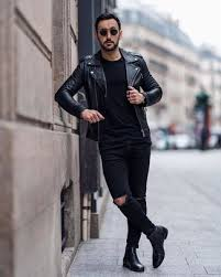 For a comfortable design that doesn't compromise on style, scroll leather chelsea boots to complement. Black Leather Biker Jacket With Black Leather Chelsea Boots Relaxed Outfits For Men 4 Ideas Outfits Lookastic