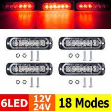 Used Ambulance Light Bar Details About 4x Red 6 Led Car Truck Emergency Beacon Warning Hazard Flash Strobe Light Bar