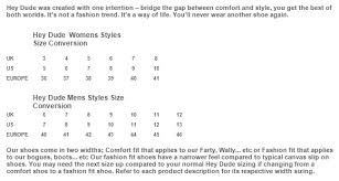 Hey Dude Shoes Size Chart Hey Dude Size Guide
