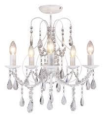 white 5 light crystal chandelier