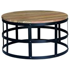 picture of dabney timber and metal 80cm round coffee table