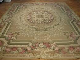 light brown radiant medallion aubusson french handmade rug 9x12 rug