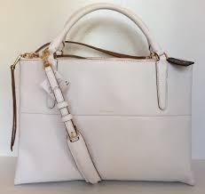 Coach 30982 Borough Edgepaint Retro Leather White Gold Satchel Large Handbag