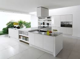 awesome sleek white ceramic floor tile for contemporary kitchen decor combine t shape cooking area completed with kitchen cabinets