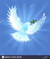 white artistically painted the dove of peace with an olive branch on blue radiant background