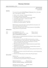 Resume For Pharmacy Technician Resume Templates