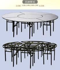 dia 2 8 miter ultra size combination hotel restaurant folding metal iron frame banquet round table with pvc board on top