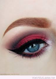 red and black eye make up